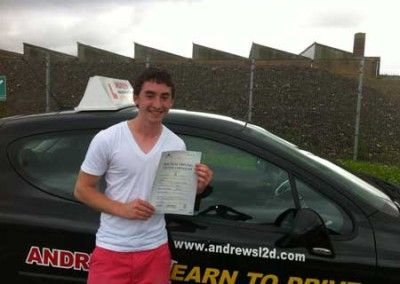 Cameron D'Angelo of Rhos on Sea a great first time driving test pass at Bangor today 27th July 2012
