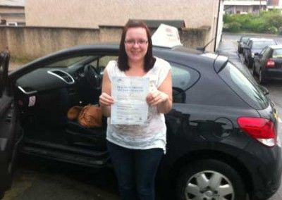 Lindsey Roberts from Tyn Y Groes a great first time driving test pass at Bangor today 10th July 2012