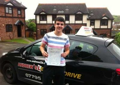 Peter Watson From Deganwy a first time driving test pass at Bangor today 5th July 2012