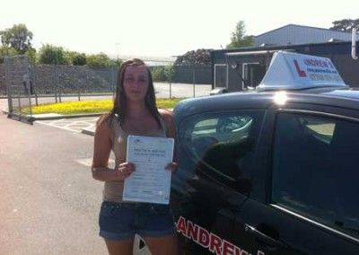 Sarah Lee of Rhos on Sea Passed driving test first time at Bangor today 28th May 2012