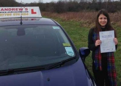 Annie Pickering from Llandudno Junction passed driving test at Bangor on 26th january 2015