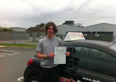 Joel Crane from Rowen passed his test first time today at Bangor driving test centre April 2nd 2012