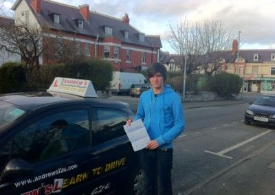 Mika Jenson Rhos on Sea after passing his driving test in Rhyl 21st February 2012