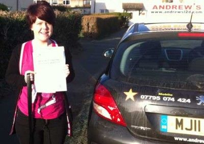 Sam Pomeroy Deganwy after passing the driving test in Bangor 2nd February 2012