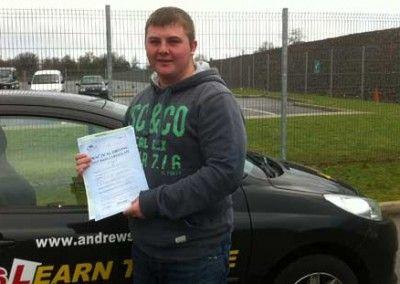 Lewis Jones Llandudno Passed test at Bangor 26th January 2012