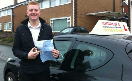 Jake Sutton after Passing his driving test at Bangor Driving Test Centre 24th January 2012