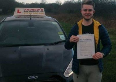 Sion Owen frow Conwy passed driving test first time at Bangor on the 15th January 2015