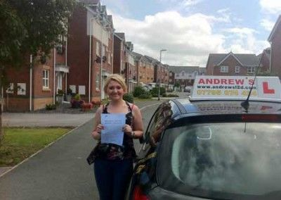 Steph Jones Conwy after passing the driving test at bangor