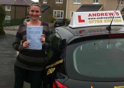 Abi Davies Dwgyfylchi passed test at Bangor driving test centre