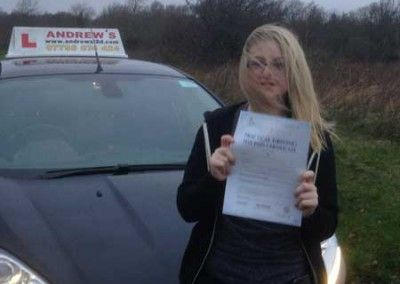 Beth Peters f rom Deganwy North Wales passed her driving test today at Bangor 22nd December 2014