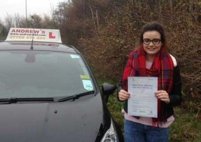 Holly Williams from Deganwy North Wales passed her driving test at Bangor 26th November 2014