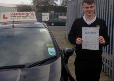 Tom Street from Dwgyfylchi North Wales passed his driving test at Bangor 18th November 2014