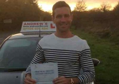 Jamie Clark from Gran Canaria Passed first time in Bangor on the 17th November 2014 after a short course of lessons
