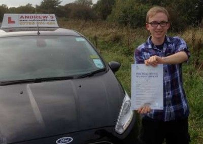 Sam Davis of Llandudno North Wales passed his driving test today 14th October 2014 at Bangor Driving test centre