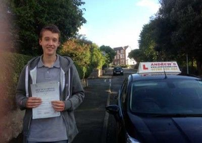 Lewis Edwards of Old Colwyn North Wales passed his driving test first time today 7th October 2014 at Rhyl Driving test centre