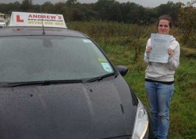 Gwen Davies of Glan Conwy North Wales passed her driving test first time today 7th October 2014 at Bangor Driving test centre