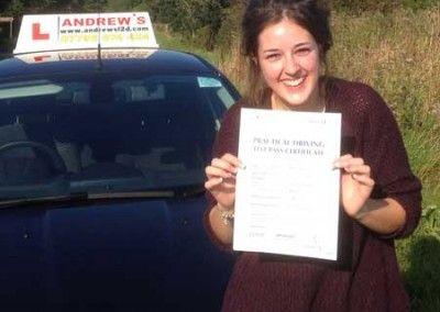 Lauren Jones of Llandudno Junction North Wales passed today 10th September 2014 at Bangor Driving test centre