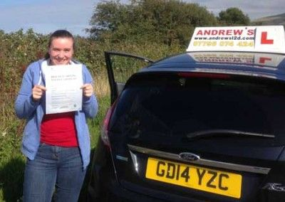 Katie Rachel Davies of Llandudno North Wales passed driving test in Bangor today 9th September 2014