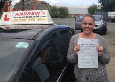 Kelly Tindall of Dwygyfylchi North Wales passed first time with no minors at Bangor today August 22nd 2014
