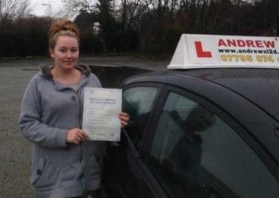 Jasmin Mellor of Llandudno Junction, Passed driving test first time at Bangor today 16th december 2013