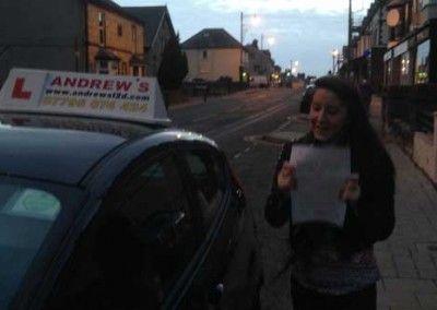 Hannah Lynton of Llandudno Junction, Passed driving test firt time at Bangor today 12th december 2013