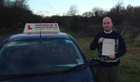 Gareth Starkey of Penmaenmawr passed driving test first time at Bangor on 10th December 2013