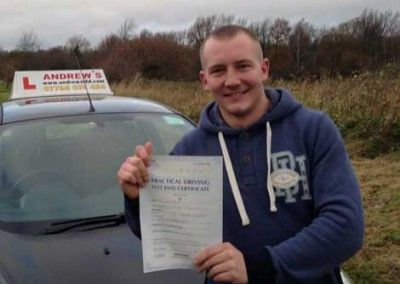 David Mellor of Conwy passed driving test first time at Bangor on 9th December 2013