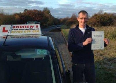 Andrew Williams of Llandudno Junction passed driving test at Bangor on 25th November 2013