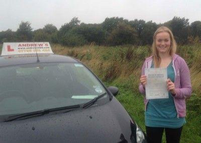 Emma Thomas of Penmaenmawr Passed Driving test at bangor 4th October 2013
