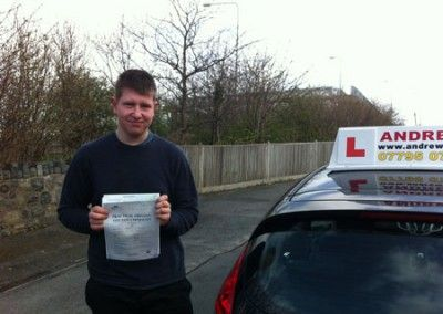 Paul Williams of Llanfairfechan passed today April 15th 2013 at Bangor driving test centre
