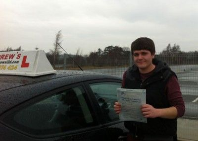 Alasdair Atkins of Llandudno well done on your driving test pass pass today at Bangor driving test centre