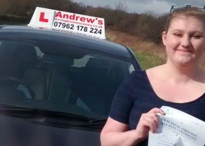Frankie from Penmaenmawr after passing her driving test in Bangor on 6th March 2015 after a course of lessons with Naz