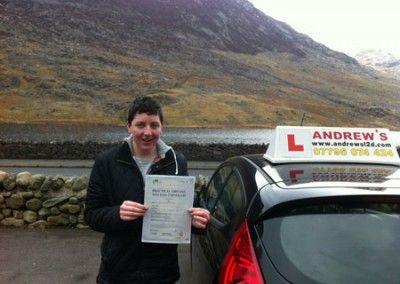Matt Gilbert of Llanrwst a great first time pass today at Bangor driving test centre