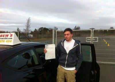 Tod Davies of Llandudno passed today at Bangor Driving Test Centre 8th December 2012
