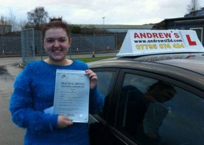 Hannah Kelly of Conwy passed today at Bangor Driving Test Centre 7th December 2012