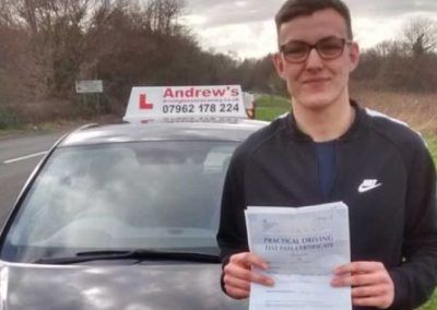 Brandon Roberts from llandudno Junction passed first time at Bangor 14th March 2017.