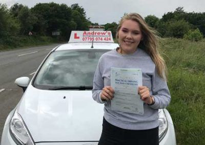 Hannah Cheshire from Conwy passed first time 7th June 2017