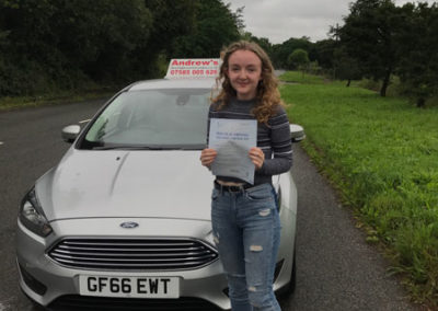 Hannah Hughes from Rhos on Sea passed first time at Bangor 29th June 2017
