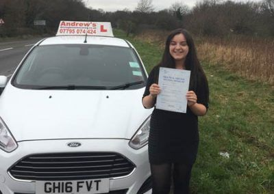 Lucia Harris from Llandudno passed first time at Bangor 19th January 2017