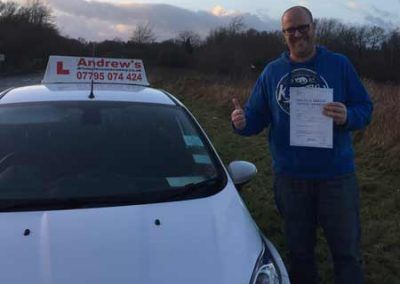 Mark Crawley from Colwyn Bay in North Wales passed first time at Bangor 9th January 2017.
