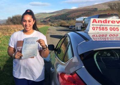 Michaela stepenson from Llandudno in North Wales  passed at Bangor on 8th March 2017