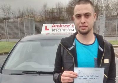 Ryan Damms from Penmaenmawr passed first time in Bangor 19th January 2016