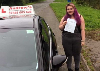 Beckie Bold from Rhos on Sea passed First Time at Bangor 2nd August 2016
