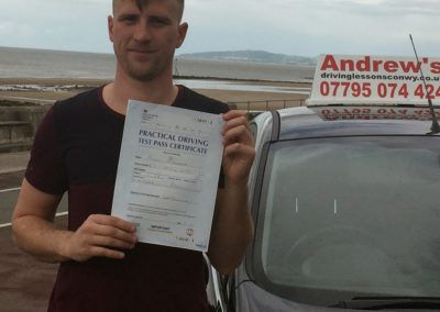 Brady O'Rourke from Colwyn Bay passed today  at Rhyl North Wales 2nd July 2016