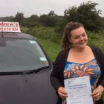 Caitlin after driving lessons in Colwyn Bay