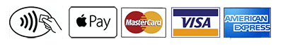 All major credit cards, apple pay or paypal