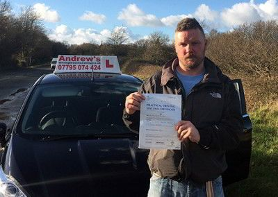 Dave from Penmaenmawr passed driving test  in Bangor on 14th January 2016