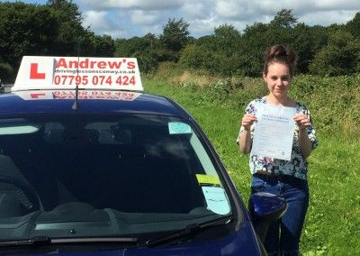 Becky Moody from Penmaenmawr passed driving test in Bangor today 27th August 2015