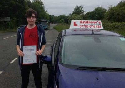 Sion from Penmaenmawr passed driving test first time in Bangor 17th June 2015