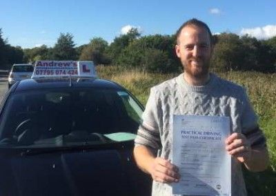 Dwaine from Llandudno Junction passed first time at Bangor on 13th October 2015